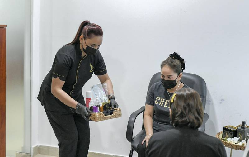Abu Dhabi, United Arab Emirates - Demonstration of nail treatment at Roe Spa home service in Tourist Club Area. Khushnum Bhandari for The National