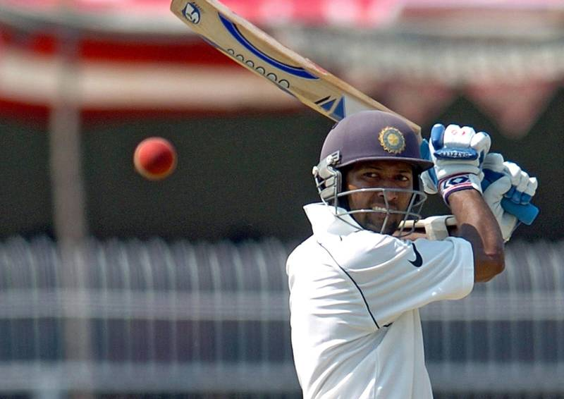 RESIZED. Indian cricketer Wasim Jaffer keeps his eye on the ball after playing a shot on his way to a century (100 runs) on the fifth day of the first Test match between India and England at The Vidharba Cricket Association Stadium in Nagpur, 05 March 2006. The match ended in a draw with the second Test match due to start in Mohali 09 March.  AFP PHOTO/ MANAN VATSYAYANA / AFP PHOTO / MANAN VATSYAYANA