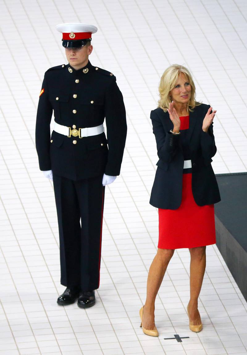 LONDON, ENGLAND - SEPTEMBER 14:   Jill Biden applauds during the medal ceremony for the Men's 100m Freestyle ISD - Final during the Swimming at the Aquatics Centre on day four of the Invictus Games, presented by Jaguar Land Rover at Queen Elizabeth Olympic Park on September 14, 2014 in London, England.  (Photo by Paul Thomas/Getty Images for Jaguar Land Rover)