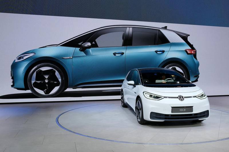 FRANKFURT AM MAIN, GERMANY - SEPTEMBER 09: Volkswagen presents the new Volkswagen ID.3 electric car at the Volkswagen media preview at the 2019 IAA Frankfurt Auto Show on September 09, 2019 in Frankfurt am Main, Germany. The IAA will be open to the public from September 12 through 22. (Photo by Sean Gallup/Getty Images)