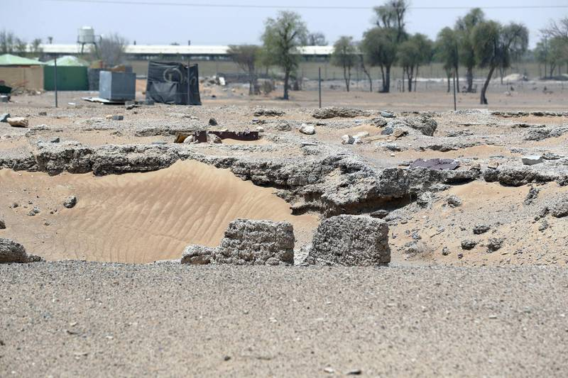 Sharjah, United Arab Emirates - July 10, 2019: Weekend's postcard section. An active archaeological dig site at the Mleiha Archaeological Centre. Wednesday the 10th of July 2019. Maleha, Sharjah. Chris Whiteoak / The National