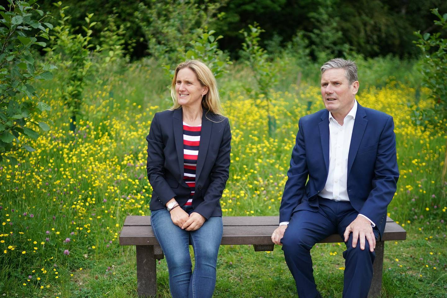CLECKHEATON, ENGLAND - JUNE 10: Labour party leader Sir Keir Starmer and Batley and Spen by-election candidate Kim Leadbeater visit the Jo Cox Community Wood created in memory of Jo Cox MP, the sister of Kim Leadbeater, on June 10, 2021 in Cleckheaton, England. Kim Leadbeater is campaigning for the Batley and Spen seat after MP Tracy Brabin stepped down to become West Yorkshire's Metro Mayor. The Batley and Spen seat was once held by Kim Leadbeater's sister Jo Cox MP, who was murdered by a far-right extremist in 2016. (Photo by Christopher Furlong/Getty Images)