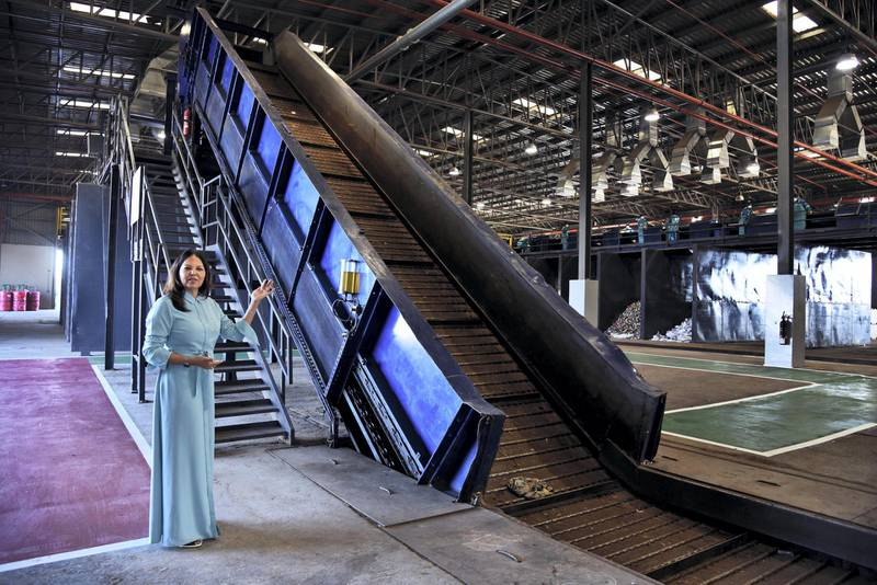 Executive Director Waste Management Agency Eng./ Sonia Nasser explains about the Material Recovery Facility during its opening ceremony in Ras Al Khaimah, UAE, Wednesday, Nov. 27, 2019. Shruti Jain The National