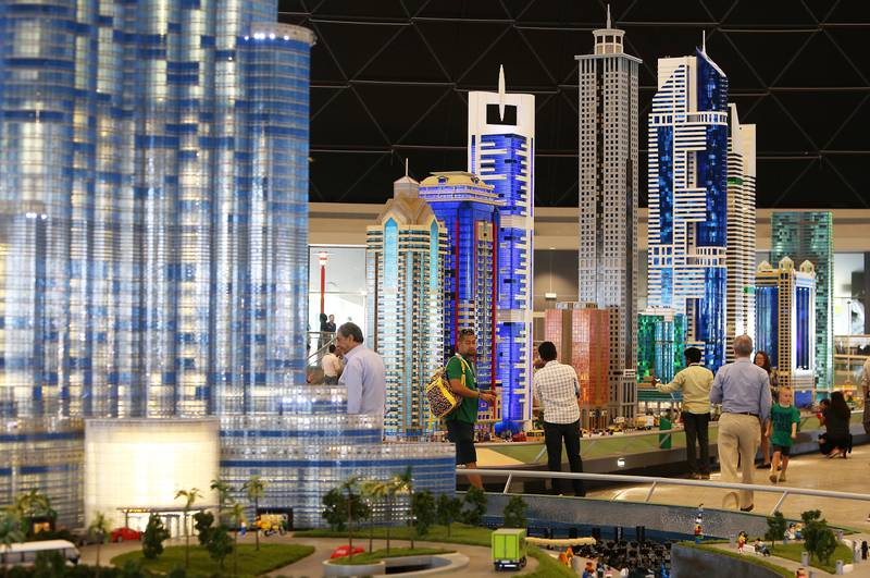 DUBAI , UNITED ARAB EMIRATES – Oct 31 , 2016 : Dubai skyline at the Miniland made by Lego bricks which feature Dubai skyline , key landmarks from around the Middle East after the opening ceremony of Legoland Dubai in Dubai.  ( Pawan Singh / The National ) For News. Story by Nick Webster. ID No - 33930  *** Local Caption ***  PS3110- LEGOLAND43.jpg