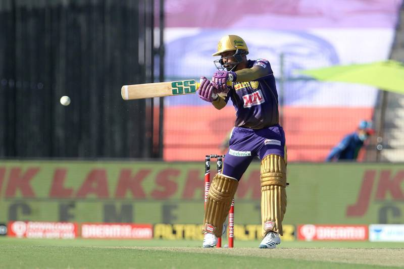 Dinesh Karthik of Kolkata Knight Riders plays a shot during match 35 of season 13 of the Dream 11 Indian Premier League (IPL) between the Sunrisers Hyderabad and the Kolkata Knight Riders at the Sheikh Zayed Stadium, Abu Dhabi  in the United Arab Emirates on the 18th October 2020.  Photo by: Vipin Pawar  / Sportzpics for BCCI