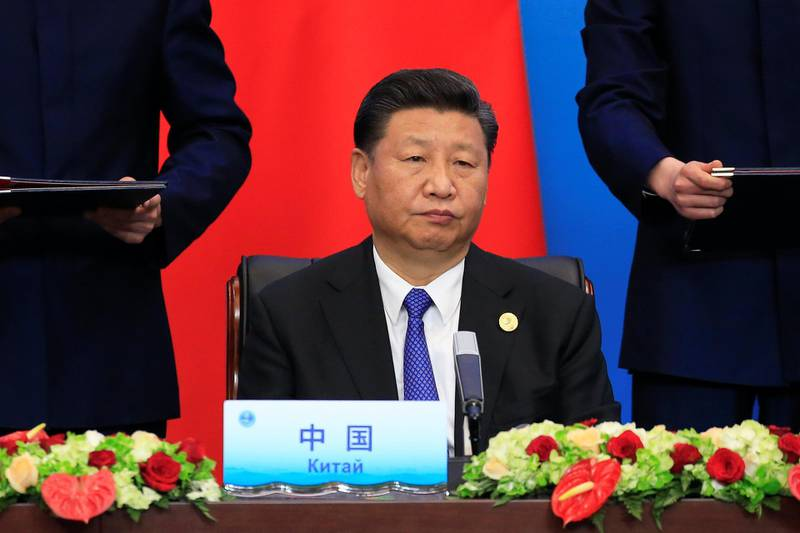 China's President Xi Jinping attends a signing ceremony during Shanghai Cooperation Organization (SCO) summit in Qingdao, Shandong Province, China June 10, 2018. REUTERS/Aly Song