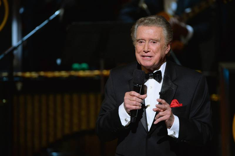 """NEW YORK, NY - MAY 06: Regis Philbin speaks speaks onstage at Spike TV's """"Don Rickles: One Night Only"""" on May 6, 2014 in New York City.   Theo Wargo/Getty Images for Spike TV/AFP"""