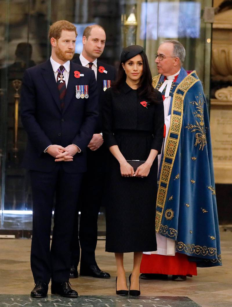 LONDON, ENGLAND - APRIL 25:  Prince William, Duke of Cambridge, Meghan Markle and Prince Harry attend an Anzac Day service at Westminster Abbey on April 25, 2018 in London, England. (Photo by Kirsty Wigglesworth - WPA Pool/Getty Images)