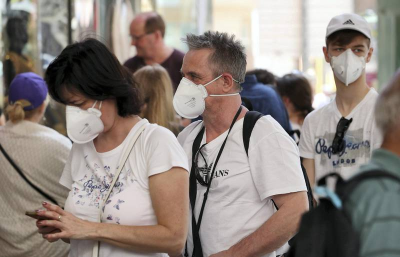 DUBAI , UNITED ARAB EMIRATES , Mar 10 – 2020 :- Tourists wearing protective face mask at the Dubai Gold Souk in Deira Dubai. ( Pawan Singh / The National ) For News/Online Story by Kelly