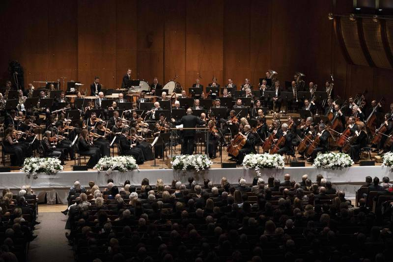 """Music Director Jaap van Zweden performs at David Geffen Hall, Lincoln Center September 20, 2018 in New York. Jaap van Zweden began his tenure as the 26th Music Director of the New York Philharmonic with his inaugural Opening Gala Concert. / AFP / Don EMMERT / TO GO WITH AFP STORY by Shaun TANDON, """"In striking debut, New York Philharmonic maestro embraces new"""""""