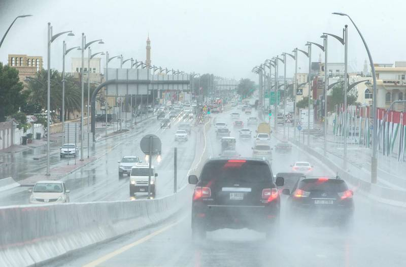 Dubai, United Arab Emirates- Strong rain at Jumeirah Beach Road.  Leslie Pableo for The National