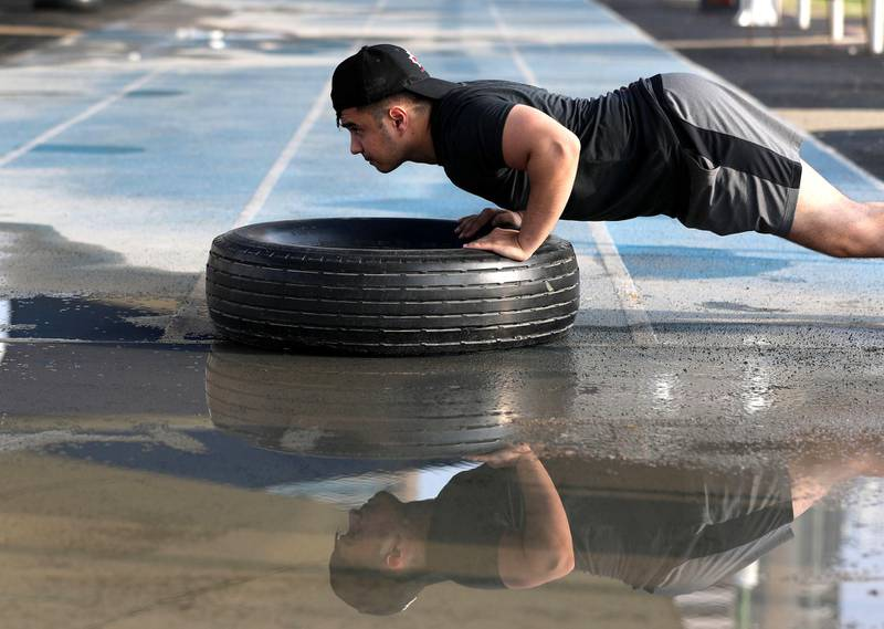 Dubai, United Arab Emirates - Reporter: N/A. News. Weather. A man works out in the marina after the rain came down in Dubai. Sunday, November 8th, 2020. Dubai. Chris Whiteoak / The National