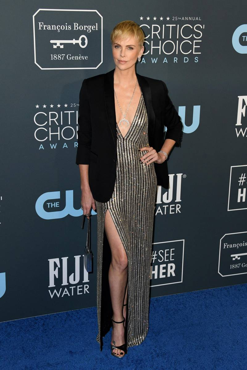 epa08123770 American-South African actress Charlize Theron attends the 25th Annual Critics? Choice Awards in Santa Monica, California, USA, 12 January 2020.  EPA-EFE/CHRISTIAN MONTERROSA