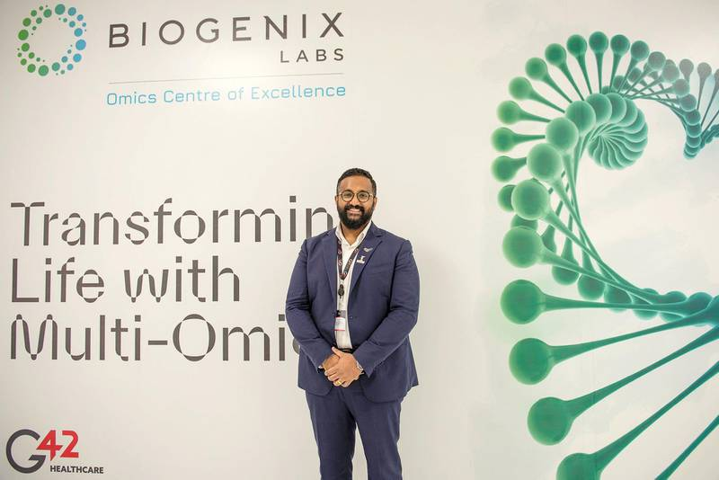 Ashish Koshy, CEO of G42 Healthcare , during inaguration of new Biogenix Labs which is located in the sustainable city of Masdar, Abu Dhabi, UAE, Vidhyaa Chandramohan for The National