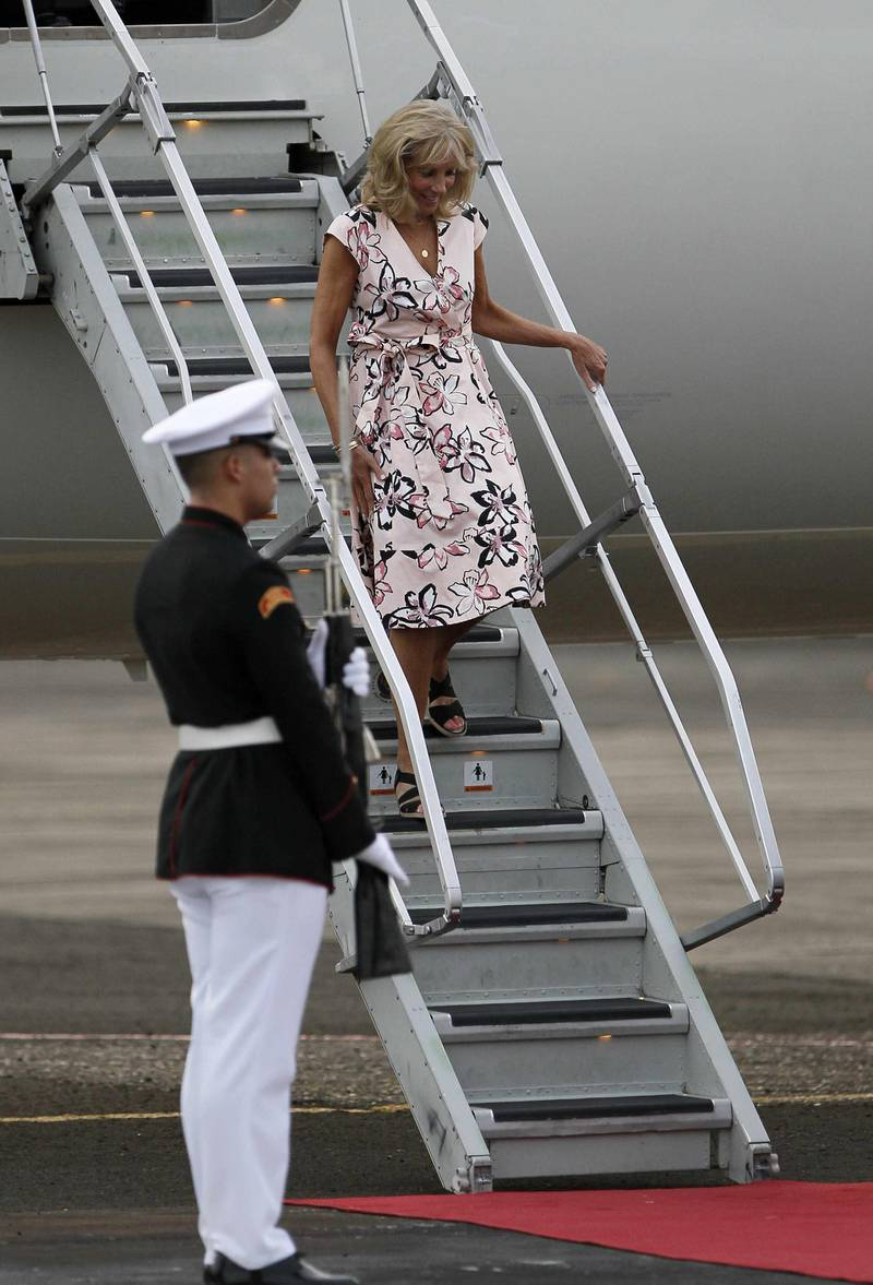 epa05391414 Second Lady of the United States, Jill Biden (R), disembarks at Panama Pacifico Airport in Panama City, Panama, 25 June 2016. Biden is to attend the opening ceremony of the the Panama Canal expansion project on 26 June.  EPA/JEFFREY ARGUEDAS