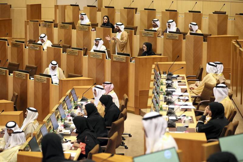 ABU DHABI , UNITED ARAB EMIRATES ,  November 20 , 2018 :- Salem Al Shehhi, FNC member, RAK ( center ) speaking during the Federal National Council session held at FNC office in Abu Dhabi. ( Pawan Singh / The National )  For News. Story by Haneen
