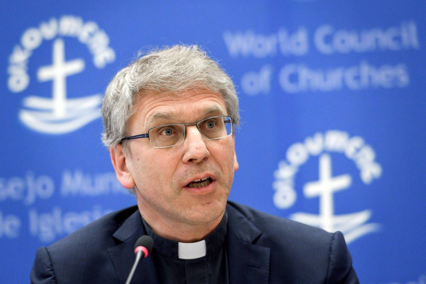 General secretary of the World Council of Churches (WCC), Olav Fykse Tveit, attends a press conference on May 15, 2018 at the WCC heaquarters in Geneva. - Pope Francis will visit the World Council of Churches for an ecumenical pilgrimage on June 21, 2018 in Geneva. (Photo by Fabrice COFFRINI / AFP)
