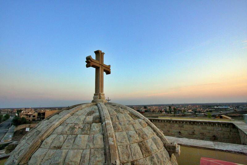 IRAQ-MOSUL_S TWO GOVERNORS-PICTURED-The view of Assyrian town Karemlesh, located 23km south east of Mosul, Iraq, from the roof of St Barbara Church-Charlie Faulkner. Charlie Faulkner for The National