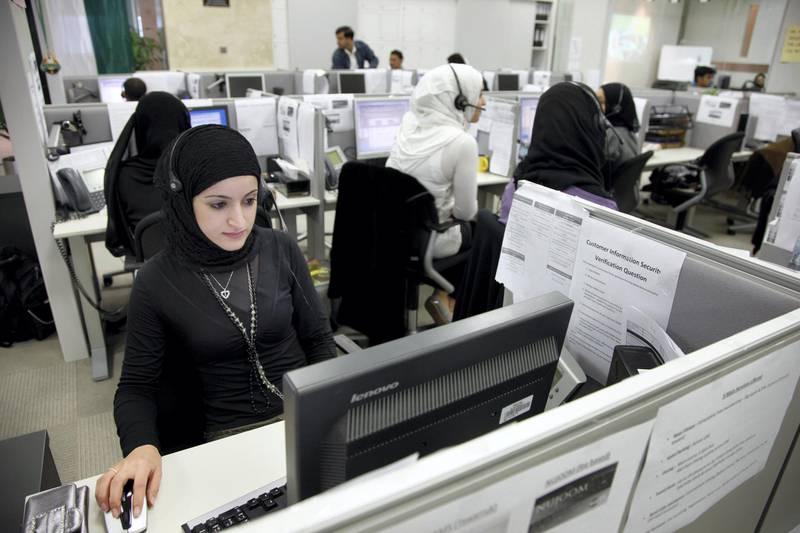 Dubai, ARE, United Arab Emirates Customer Call center of Noor Islamic Bank.  (c) Jochen Tack Fotografie, Ursulastr. 9  45131 Essen, GERMANY, phone +49 176 24848423  fax 0201-3107614 e-mail: info@jochentack.com   www.jochentack.com, No Modelrelease ! No Property Release!