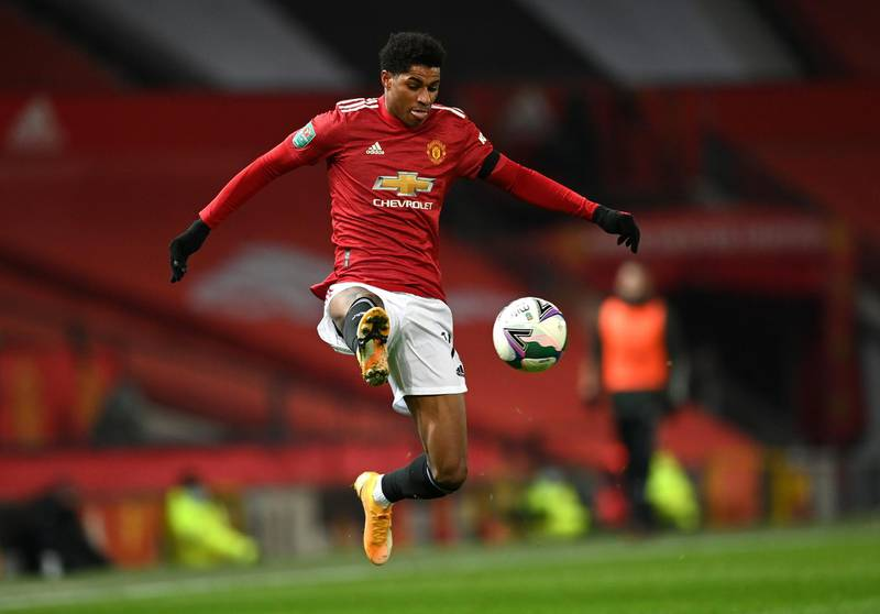 MANCHESTER, ENGLAND - JANUARY 06:  Marcus Rashford of Manchester United controls the ball during the Carabao Cup Semi Final match between Manchester United and Manchester City at Old Trafford on January 06, 2021 in Manchester, England. (Photo by Shaun Botterill/Getty Images)