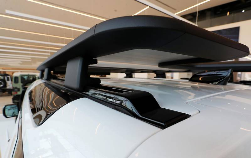 DUBAI, UNITED ARAB EMIRATES , June 27 – 2020 :- Roof bars on the Land Rover Defender SE model on display at the Land Rover Defenders showroom on Sheikh Zayed Road in Dubai. (Pawan Singh / The National) For Motoring. Story by Simon