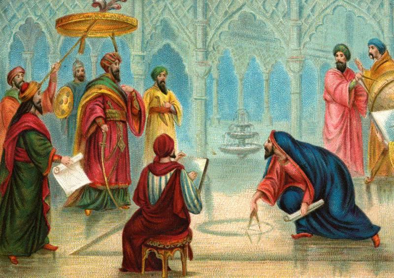 Al-Ma'mun at the first degree measurment.(German: Der Kalif Mamun veranstaltet die erste Gradmessung).Caliph Al-Ma'mun/Almamon/ Al-Maymun/ el-Mâmoûn- Abbasid caliph (813-833).Liebig card, Episodes from the Caliphate, 1897.  (Photo by Culture Club/Getty Images) *** Local Caption ***