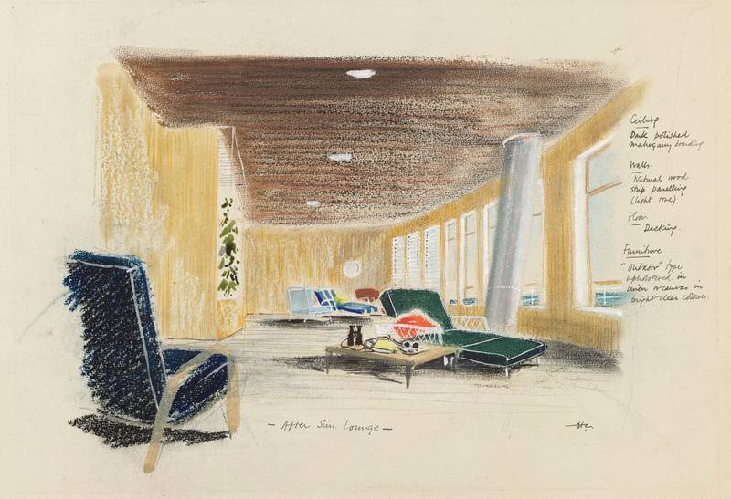 A design by Sir Hugh Casson for the sun lounge of the Royal Yacht Britannia. Courtesy Royal Collection Trust