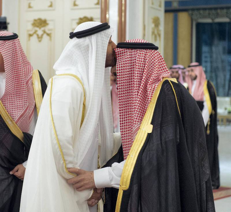 """This handout photo taken and released by the Saudi Royal Palace shows Sheikh Mohammed bin Zayed Al Nahyan (R), Crown Prince of Abu Dhabi and Deputy Supreme Commander of the United Arab Emirates (UAE) Armed Forces, kissing Saudi King Salman bin Abdulaziz on the forehead during the Gulf Cooperation Council (GCC) held at al-Safa Royal Palace in the Saudi holy city of Mecca on May 31, 2019. (Photo by BANDAR AL-JALOUD / Saudi Royal Palace / AFP) / RESTRICTED TO EDITORIAL USE - MANDATORY CREDIT """"AFP PHOTO /  SAUDI ROYAL PALACE / BANDAR AL-JALOUD """" - NO MARKETING NO ADVERTISING CAMPAIGNS - DISTRIBUTED AS A SERVICE TO CLIENTS / """"The erroneous mention[s] appearing in the metadata of this photo by BANDAR AL-JALOUD has been modified in AFP systems in the following manner: [UAE] instead of [Bahrain]. Please immediately remove the erroneous mention[s] from all your online services and delete it (them) from your servers. If you have been authorized by AFP to distribute it (them) to third parties, please ensure that the same actions are carried out by them. Failure to promptly comply with these instructions will entail liability on your part for any continued or post notification usage. Therefore we thank you very much for all your attention and prompt action. We are sorry for the inconvenience this notification may cause and remain at your disposal for any further information you may require."""""""