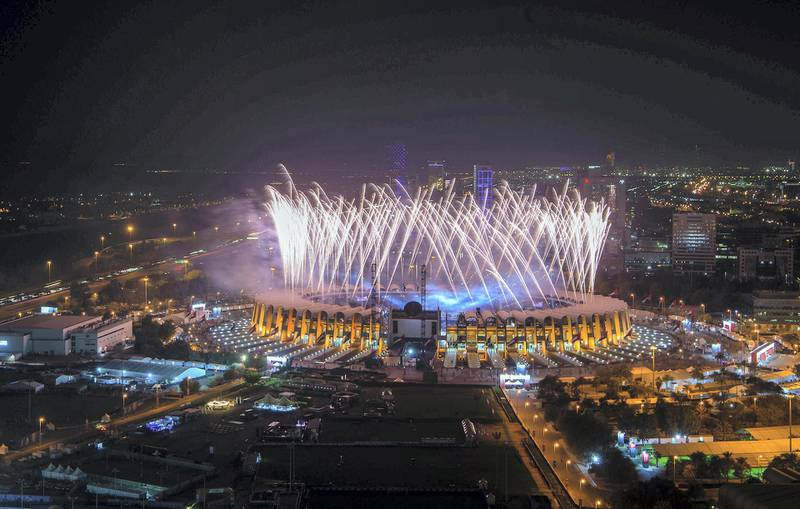 ABU DHABI, UNITED ARAB EMIRATES - March 14, 2019: A fireworks display marks the end of the opening ceremony of the Special Olympics World Games Abu Dhabi 2019, at Zayed Sports City.   ( Mohamed Al Raeesi for the Ministry of Presidential Affairs ) ---