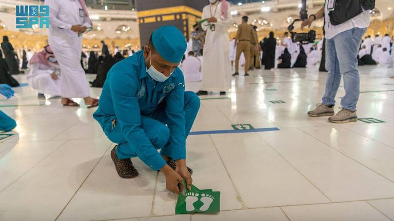 An image that illustrates this article Saudi Arabia relaxes Covid-19 measures at the Grand Mosque in Makkah – in pictures