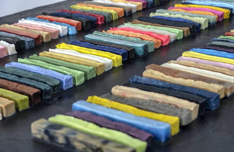 Spectrum 1, 2018 156 transformed soaps poured as ingots into a soap plate 124 x 240 x 10 cm