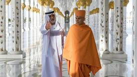 Sheikh Nahyan takes Hindu priests on a tour of Sheikh Zayed Grand Mosque