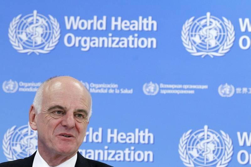 U.N. Secretary-General's Special Envoy for Ebola David Nabarro addresses the media on World Health Organization (WHO)'s health emergency preparedness and response capacities in Geneva, Switzerland, July 31, 2015. REUTERS/Pierre Albouy