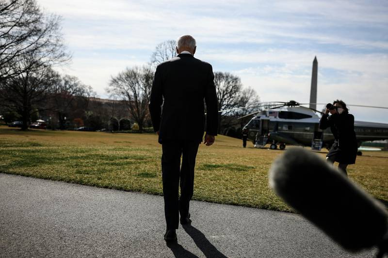 epa09084078 President Joe Biden walks on the South Lawn of the White House before boarding Marine One in Washington, DC, USA, 19 March 2021. President Biden is travelling to Atlanta where he will meet with Asian-American leaders after a shooting spree which left eight people dead at three metro Atlanta massage parlors, including several women of Asian descent.  EPA/OLIVER CONTRERAS / POOL