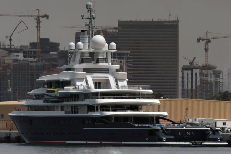 Superyacht Luna owned by Russian billionaire Farkad Akhmedov is docked at Port Rashid in Dubai, United Arab Emirates March 28, 2019. REUTERS/Christopher Pike