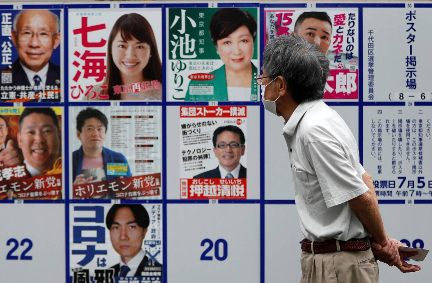 A voter wearing a protective face mask watches candidate posters, including current governor Yuriko Koike, for the Tokyo Governor election in front of a voting station amid the coronavirus disease (COVID-19) outbreak, in Tokyo, Japan July 5, 2020.  REUTERS/Issei Kato