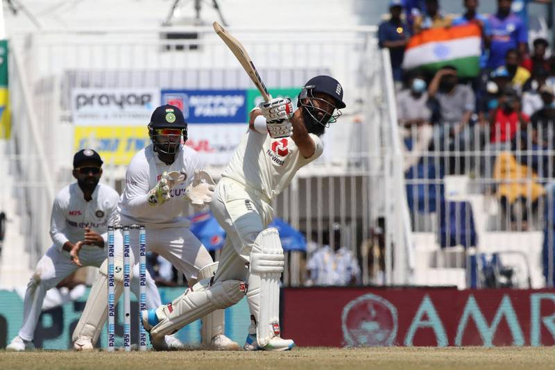 Moeen Ali of England  plays a shot during day four of the second PayTM test match between India and England held at the Chidambaram Stadium in Chennai, Tamil Nadu, India on the 16th February 2021  Photo by Pankaj Nangia/ Sportzpics for BCCI