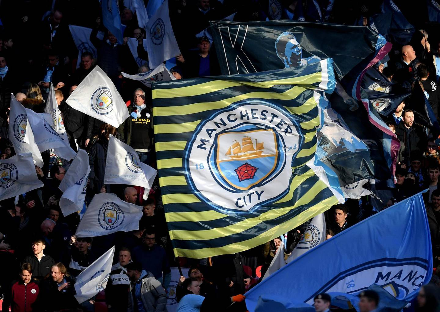 LONDON, ENGLAND - MARCH 01: Fans wave flags prior to the Carabao Cup Final between Aston Villa and Manchester City at Wembley Stadium on March 01, 2020 in London, England. (Photo by Michael Regan/Getty Images)