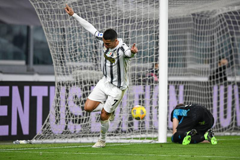 TURIN, ITALY - NOVEMBER 21: Cristiano Ronaldo of Juventus scores goal celebrates goal during the Serie A match between Juventus and Cagliari Calcio at Allianz Stadium on November 21, 2020 in Turin, Italy. (Photo by Chris Ricco/Getty Images)