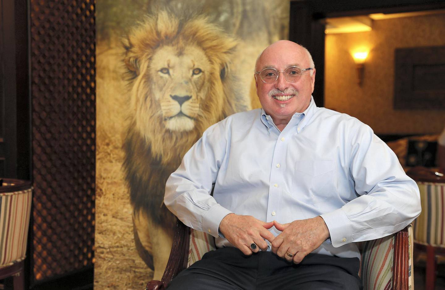 DUBAI , UNITED ARAB EMIRATES , January 22 ��� 2019 :- Azzedine Downes , President and CEO of International Fund for Animal Welfare at the Arabian Courtyard Hotel in Bur Dubai in Dubai. ( Pawan Singh / The National ) For News. Story by Nick Webster