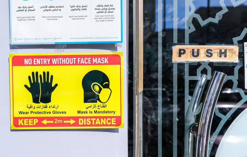 Abu Dhabi, United Arab Emirates, October  23, 2020.    Friday morning at central Abu Dhabi.  A Covid-19 safety sign on Al Qahirah street.Victor Besa/The NationalSection:  NAfor:  Standalone/Weather
