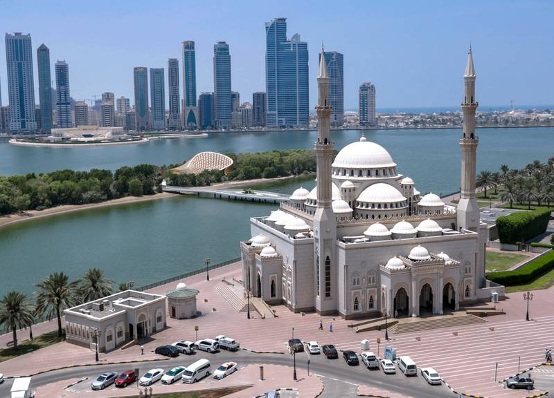 Sharjah, United Arab Emirates, August 6, 2019. The Al Noor Mosque shot from Al Buhaira Tower, Corniche Street. Victor Besa/The National Section: UAE Stock Images Tags: Sharjah, Khalid Lake, Mosque, UAE Summer