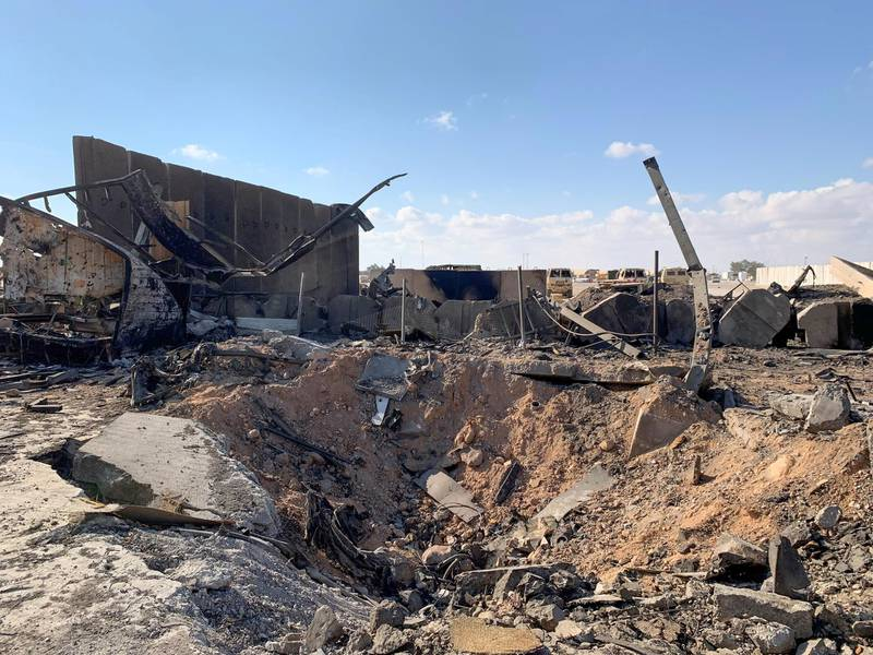 A picture taken on January 13, 2020 during a press tour organised by the US-led coalition fighting the remnants of the Islamic State group, shows a view of the damage at Ain al-Asad military airbase housing US and other foreign troops in the western Iraqi province of Anbar. - Iran last week launched a wave of missiles at the sprawling Ain al-Asad airbase in western Iraq and a base in Arbil, capital of Iraq's autonomous Kurdish region, both hosting US and other foreign troops, in retaliation for the US killing top Iranian general Qasem Soleimani in a drone strike in Baghdad on January 3. (Photo by Ayman HENNA / AFP)
