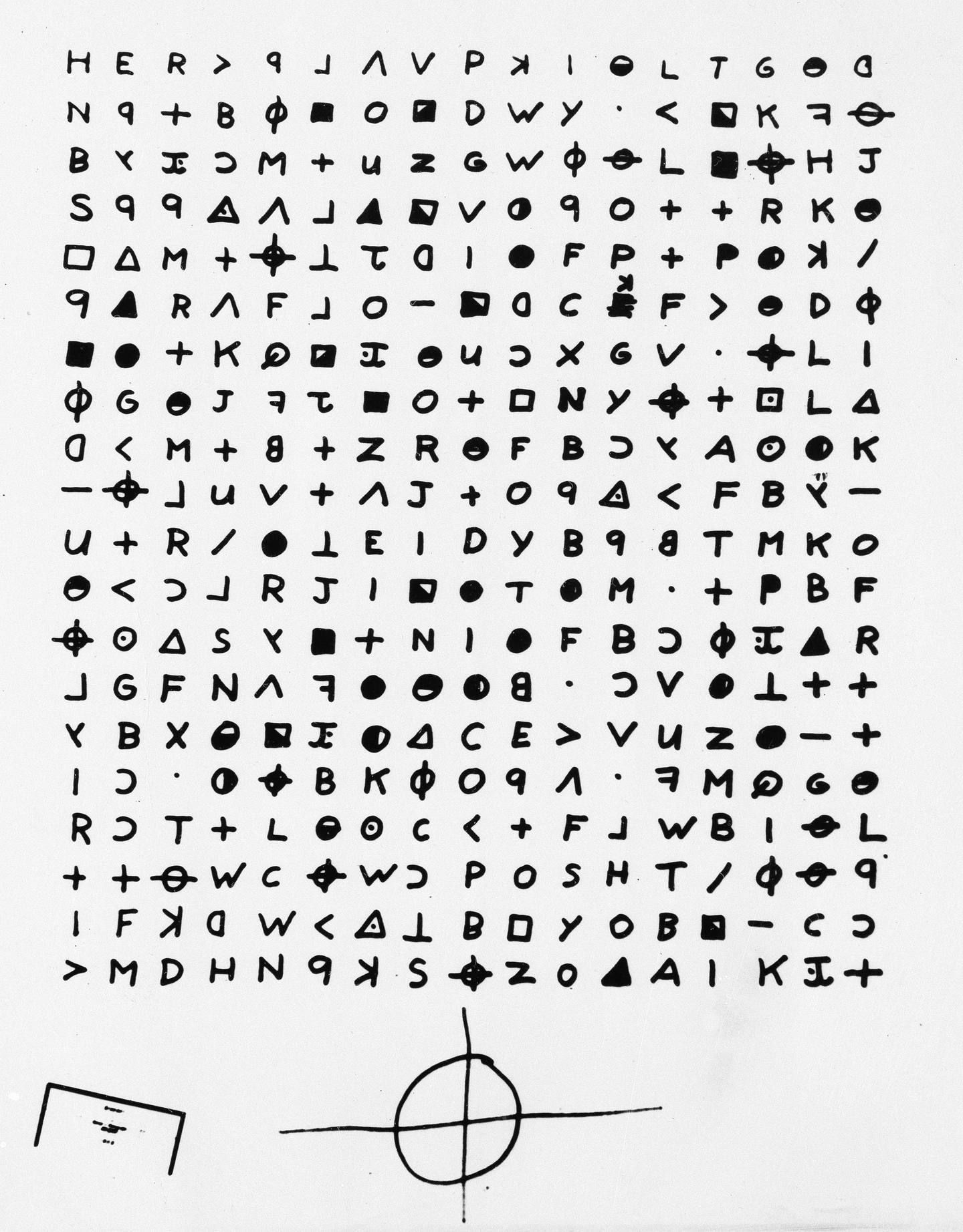 FILE - This is a file copy of a cryptogram sent to the San Francisco Chronicle in 1969 by the Zodiac Killer. A coded letter mailed to a San Francisco newspaper by the Zodiac serial killer in 1969 has been deciphered by a team of amateur sleuths from the United States, Australia and Belgium, the San Francisco Chronicle reported Friday, Dec. 11, 2020. (San Francisco Chronicle via AP, File)/San Francisco Chronicle via AP)