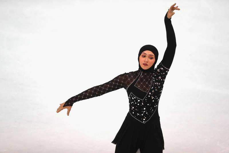 OBERSTDORF, GERMANY - SEPTEMBER 29:  Zahra Lari of United Arabic Emirates performs at the Ladies short program during the 49. Nebelhorn Trophy 2017 at Eishalle Oberstdorf on September 29, 2017 in Oberstdorf, Germany.  (Photo by Alexander Hassenstein/Bongarts/Getty Images)