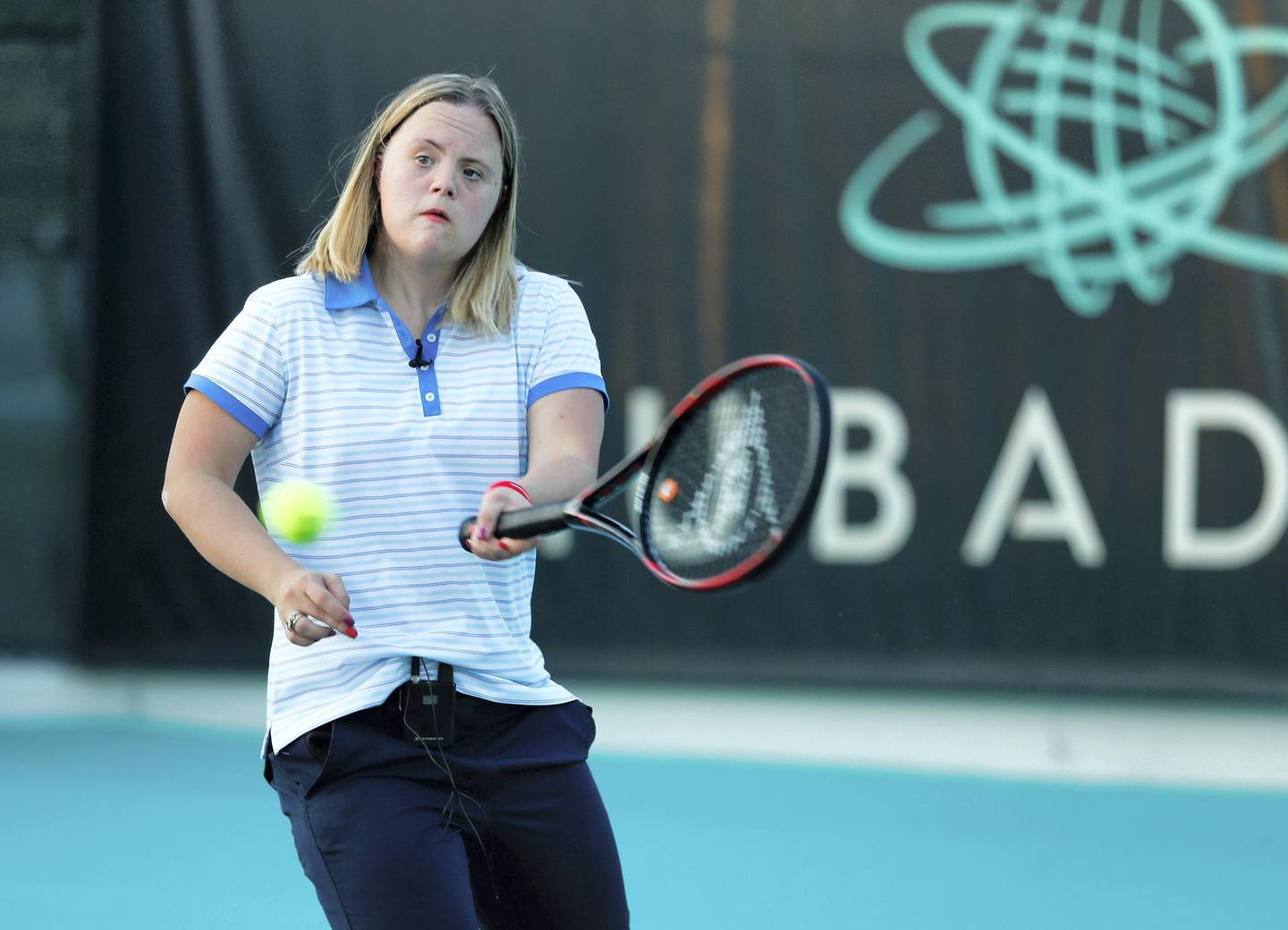 Abu Dhabi, U.A.E., October 22, 2018.  Clara Lehmkuhl has Down Syndrome and is training to play singles tennis at the upcoming Special Olympics; it is also Down Syndrome Awareness month.Victor Besa / The NationalSection:  NAReporter:  Ann Marie McQueen