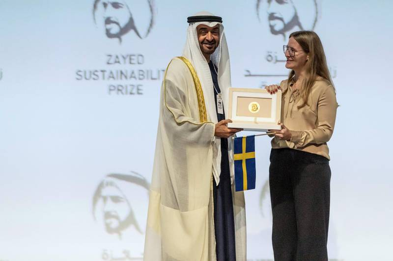 ABU DHABI, UNITED ARAB EMIRATES. 13 JANUARY 2020. The Zayed Sustainability Awards held at ADNEC as part of Abu Dhabi Sustainability Week. H.E. Sheikh Mohammed bin Zayed Al Nahyan, Crown Prince of Abu Dhabi and Deputy Supreme Commander of the United Arab Emirates Armed Forces awards Health Winner: Globhe, Sweden. (Photo: Antonie Robertson/The National) Journalist: Kelly Clarker. Section: National.