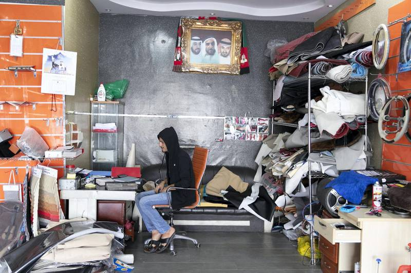 ABU DHABI, UNITED ARAB EMIRATES - NOVEMBER 27, 2018.   Inside Blooming Leather Upholstery and Accessories car shop in Mussafah.  Car accessory shops in Mussafah are keeping busy as motorists rush to dress up their vehicles ahead of the UAE's 47th National Day.  (Photo by Reem Mohammed/The National)  Reporter:  HANEEN DAJANI Section:  NA