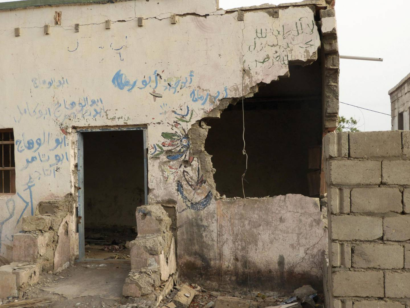 A resident in the village of Al-Kataba shelled by the Houthi militia. Ali Mahmood Mohamed for The National