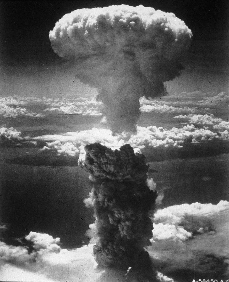 A mushroom cloud rising into the air after the atom bomb was dropped on Nagasaki at the end of World War II.   (Photo by Keystone, MPI/Getty Images)